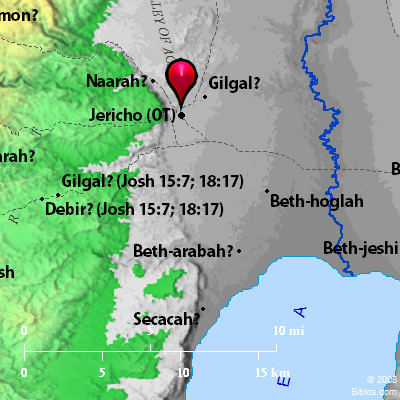 Bible Map: Plains of Moab (Opposite Jericho)