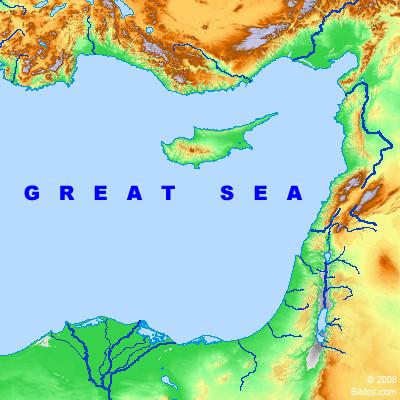 Bible Map: Great Sea (Mediterranean)