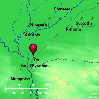 Bible Map Heliopolis On - Map of egypt heliopolis