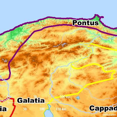 Map Of Asia Minor 60 Ad.Bible Map Pontus