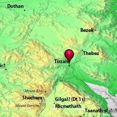 Bible Map Tirzah