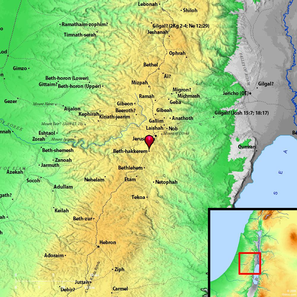 Beth Shemesh Bible Maps: Bible Map: Beth-haccherem (Beth-hakkerem