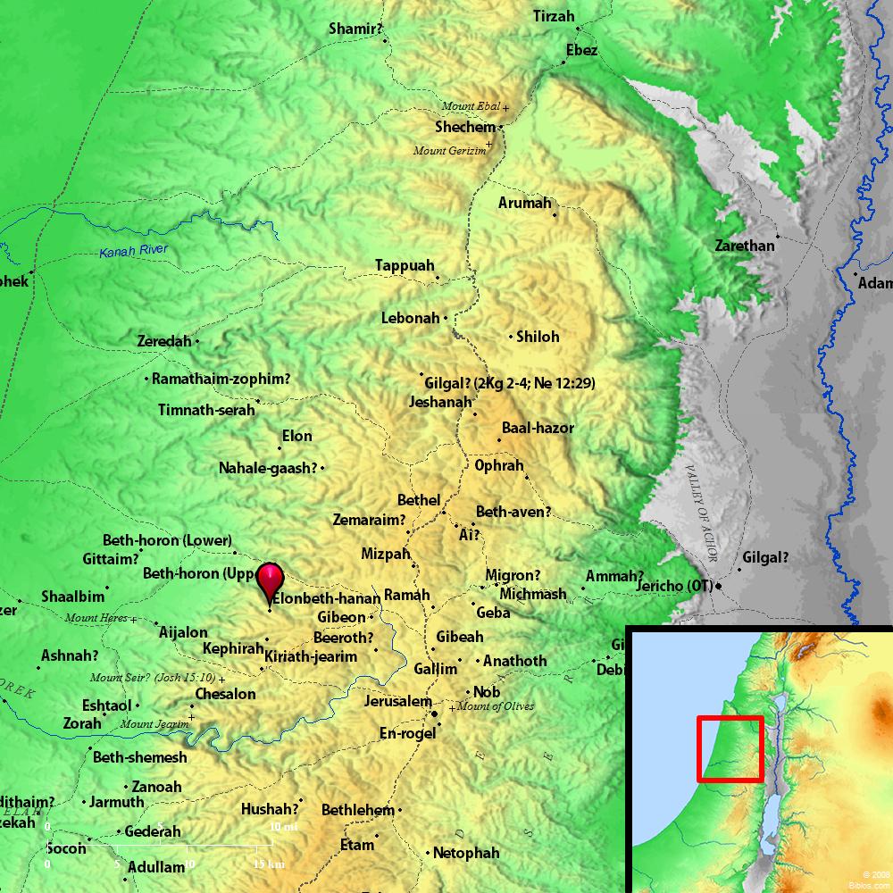 Beth Shemesh Bible Maps: Bible Map: Elonbeth-hanan