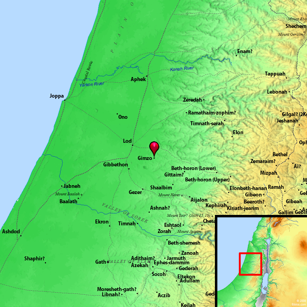 Beth Shemesh Judah: Bible Map: Gimzo