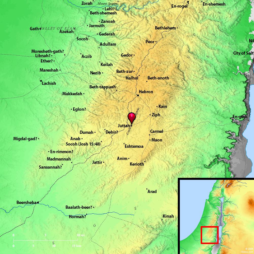 Beth Shemesh Judah: Bible Map: Juttah