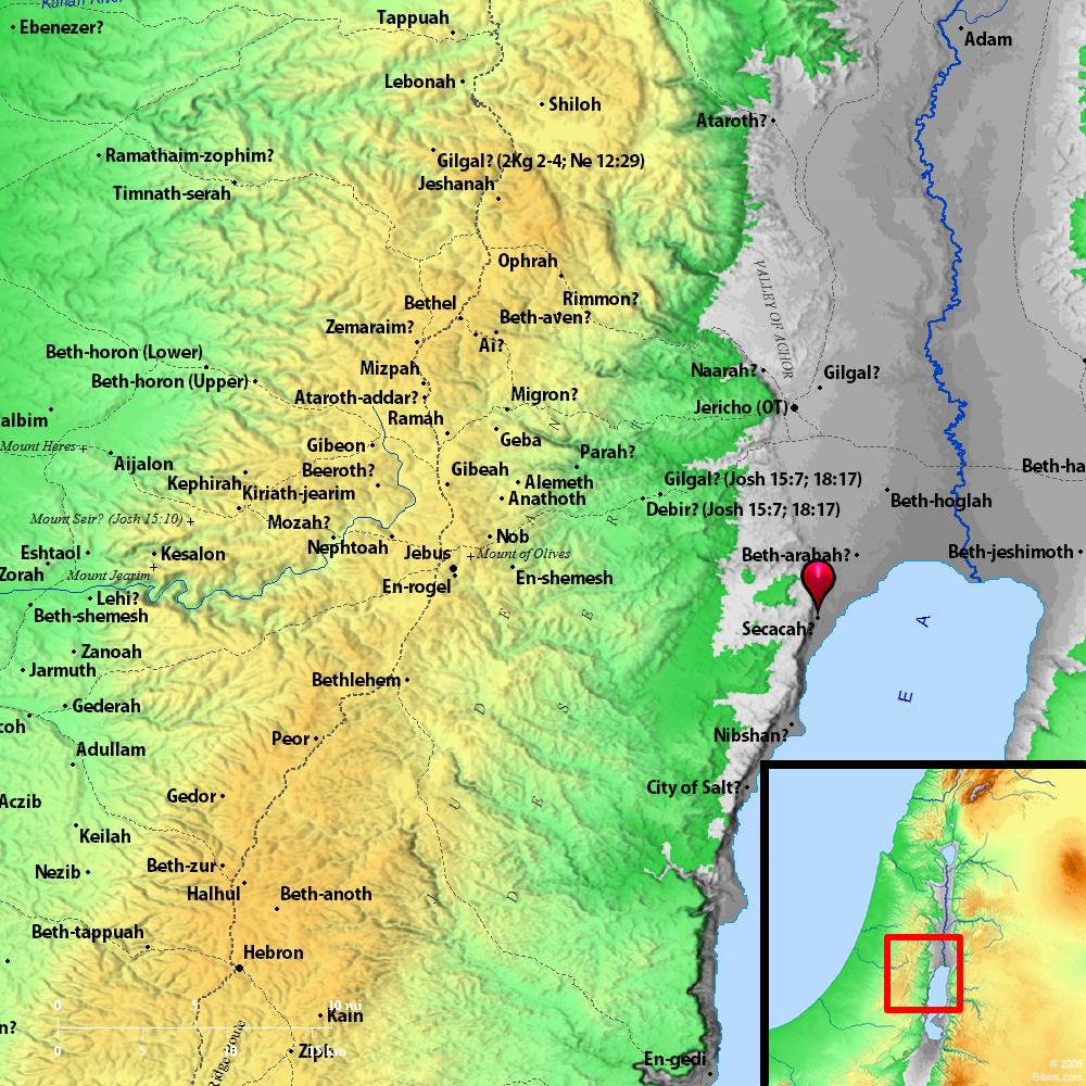 Beth Shemesh Bible Maps: Bible Map: Secacah